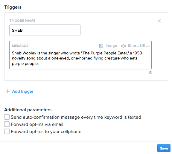 Screenshot of Triggers setup in SimpleTexting dashboard