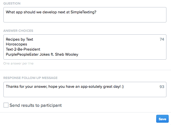 Screenshot of SimpleTexting Polling Subscribers dashboard app