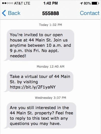 real estate text message marketing example - autoresponder
