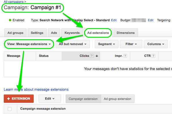 Screenshot of AdWords click-to-message setup