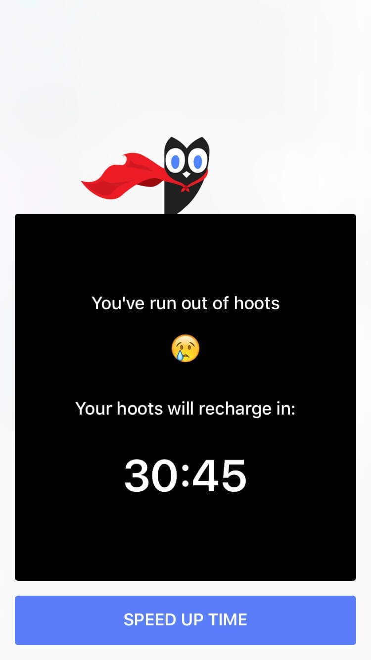 Screenshot of Hooked paywall with red-caped owl mascot and countdown timer