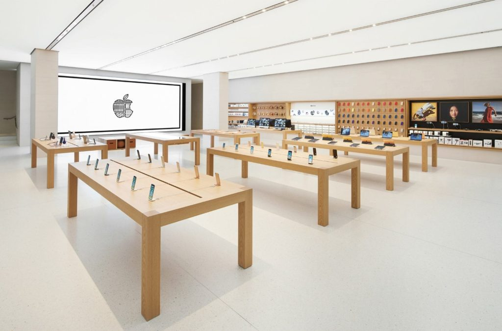 Photo of an Apple store display, from iDownload Blog.