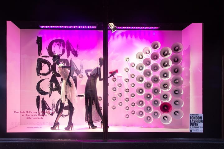 Photo of a lighted window retail display, from Retail Design Blog.