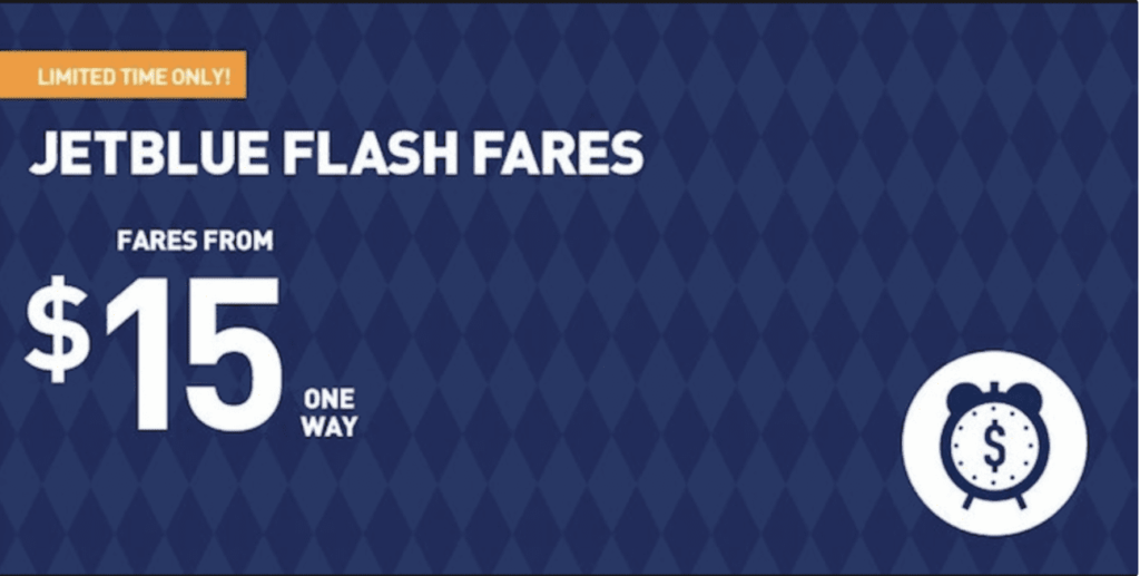 Example of a flash sale from JetBlue.