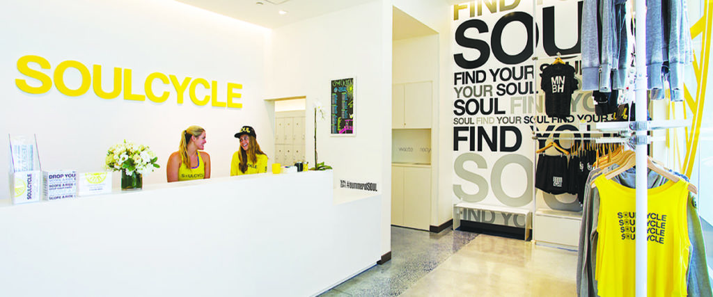 Example of SoulCycle sharing brand story at checkout
