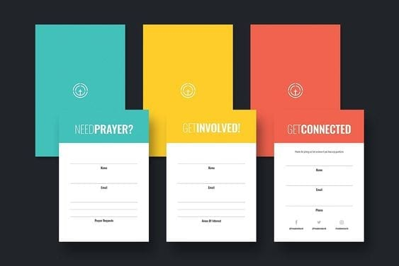 Church visitor cards: create cards for different purposes