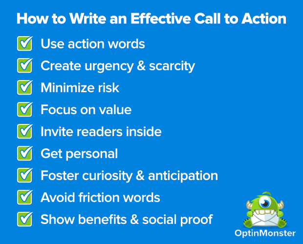 How to write an effective call to action - from OptinMonster.
